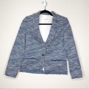 Club Monaco Fringe tweed blue button blazer jacket